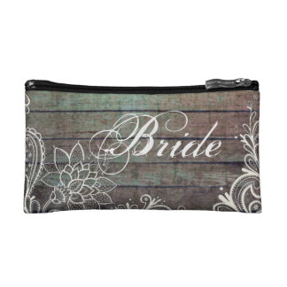 modern rustic barnwood lace bride cosmetics bags