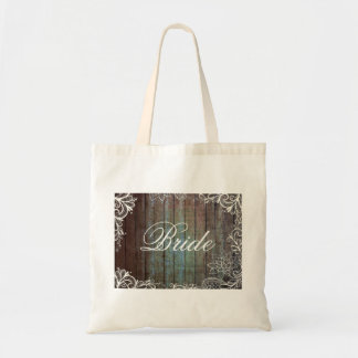 modern rustic barnwood lace bride bag