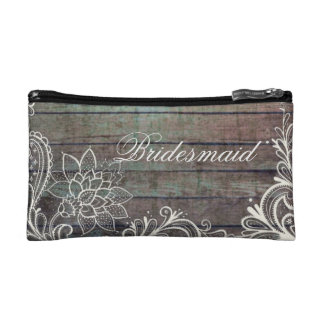 modern rustic barnwood lace bridesmaid cosmetic bags