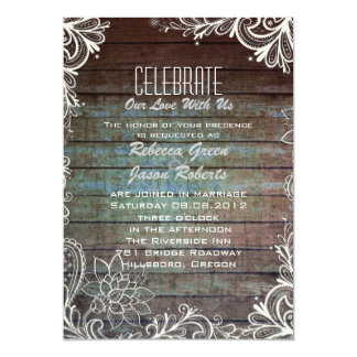 modern rustic barnwood lace wedding 13 cm x 18 cm invitation card