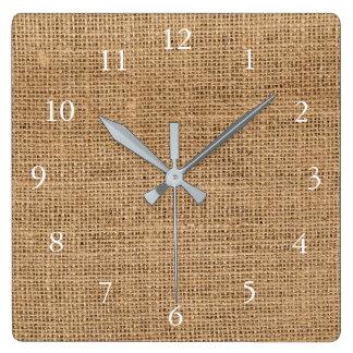 Modern rustic burlap texture family square wall clock
