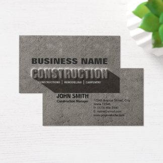 Modern Rustic Concrete Rock Text Construction Business Card