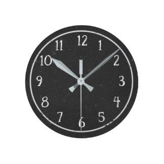 Modern Rustic Faux Chalkboard Round Clock
