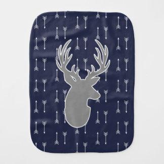 Modern Rustic Gray Deer & White Arrows Burp Cloth