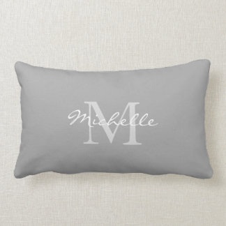Modern rustic Gray personal monogram name Lumbar Pillow