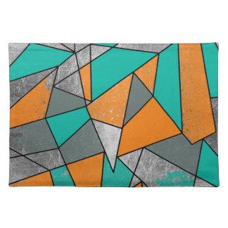 Modern Rustic Orange Teal Gray Silver Geometric Placemat