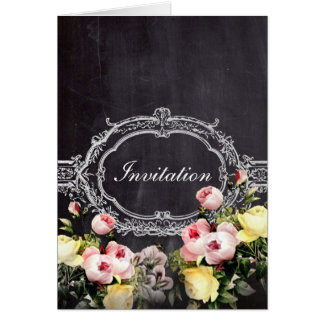 modern rustic  vintage flowers Chalkboard wedding Card