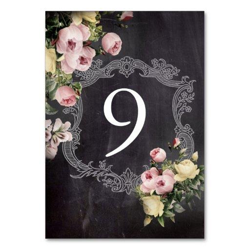 modern rustic  vintage flowers Chalkboard wedding Table Cards