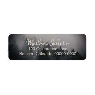 Modern Rustic Woodsy Forest Scene Return Address Label