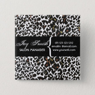 Modern Safari Salons Hair Business Name Tag 15 Cm Square Badge