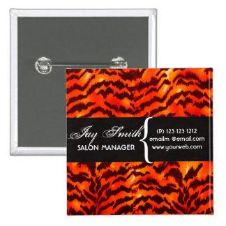 Modern Safari  WildLife Stripes Pattern  Name Tag 15 Cm Square Badge