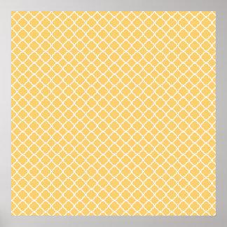Modern Saffron Quatrefoil Pattern Poster