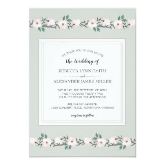 Modern Sage and Blush Pink Floral Wedding Invite
