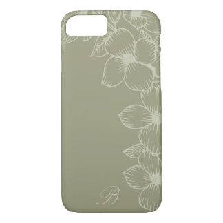 Modern Sage Floral Monogram iPhone 7 Case