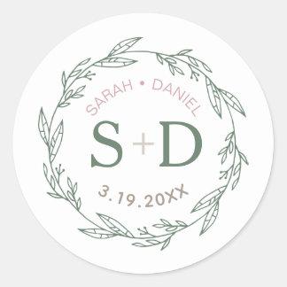 Modern Sage Wreath Wedding Classic Round Sticker