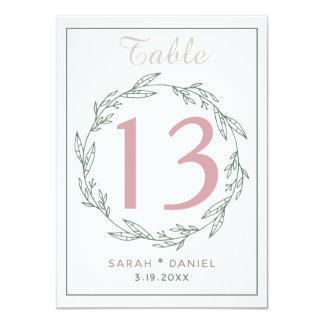 Modern Sage Wreath Wedding Table Number