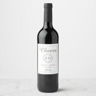 Modern Sage Wreath Wedding Wine Label