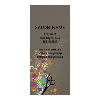 modern salon service menu floral hair colorful personalized rack card
