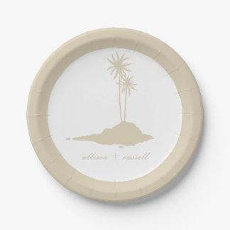 Modern Sand Island Beach Wedding 7 Inch Paper Plate