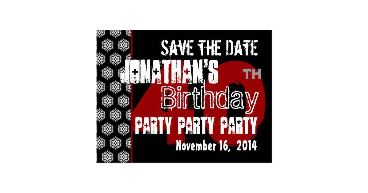 modern save the date 40th birthday party r204 postcard