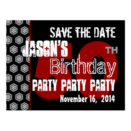 Modern Save the Date  50th Birthday Party R203 Postcard