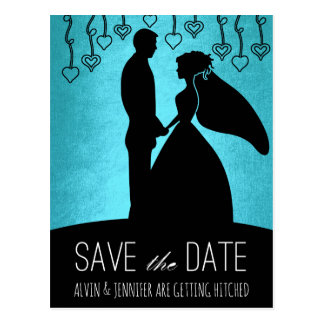 Modern Save the Date Blue-marine Gold Postcard