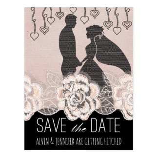 Modern Save the Date Burlap Lace Peach Pastel Postcard
