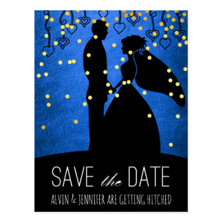 Modern Save the Date Cobalt Blue Ombre Confetti Postcard
