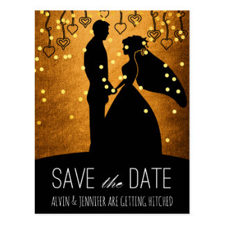 Modern Save the Date Gold Ombre Confetti Glam Postcard