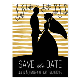 Modern Save the Date Golden Golden White Stripes Postcard