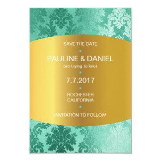 Modern Save The Date Golden Mint Floral 9 Cm X 13 Cm Invitation Card