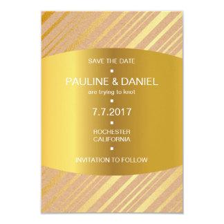 Modern Save The Date Golden Stripes Lines Vip 9 Cm X 13 Cm Invitation Card
