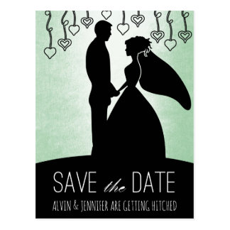 Modern Save the Date Mint Green Glam Postcard