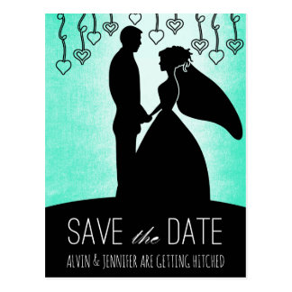 Modern Save the Date Mint Green Ombre Postcard