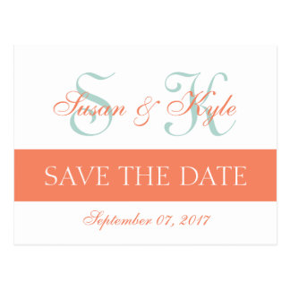 Modern Save the Date Mint Green Orange Monogram Postcard