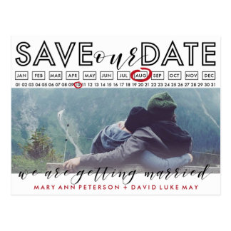 Modern Save the Date Photo postcard with calendar