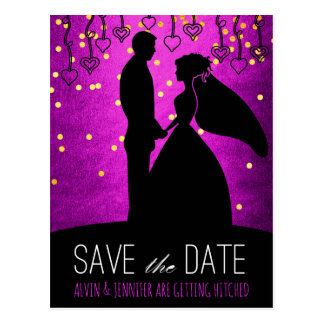 Modern Save the Date Pink Gold Confetti Glam Postcard