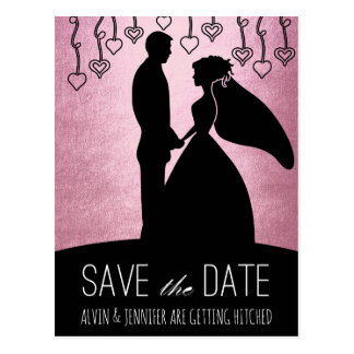 Modern Save the Date Pink Ombre Glam Postcard