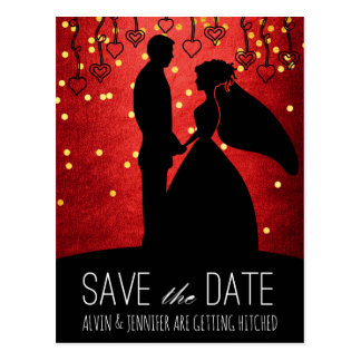 Modern Save the Date Red Gold Confetti Glam Postcard