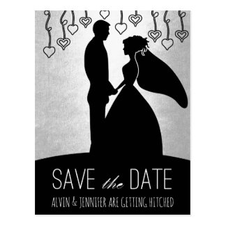 Modern Save the Date Silver Mettalic Glam Postcard