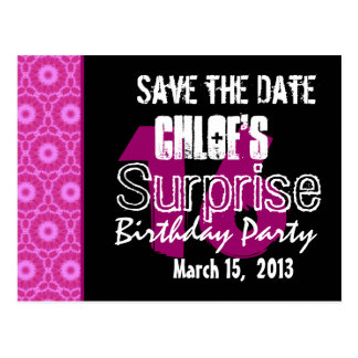 Modern Save the Date Surprise 16th Party W1744 Post Cards