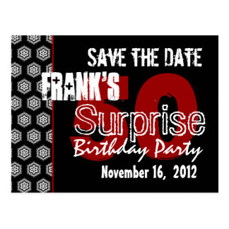 Modern Save the Date Surprise 50th Party V337 Postcards