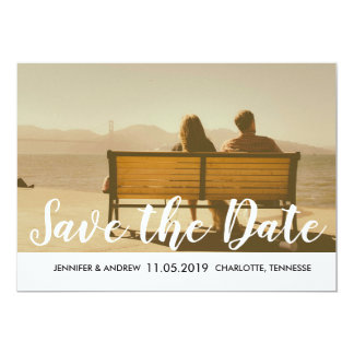 Modern Save The Date Typography Grey Stripes Photo Card