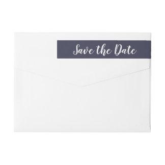 Modern Save The Date Typography Script Navy Blue Wrap Around Label