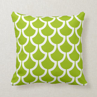 Modern Scales Geometric | lime green white Cushion