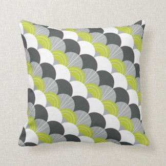 MODERN scallop fan pattern charcoal gray green Cushion
