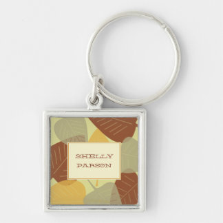 Modern scattered leaves autumn personalized keychain