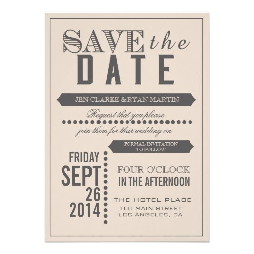 Modern Script Beige & Grey Save the Date Personalized Invitations
