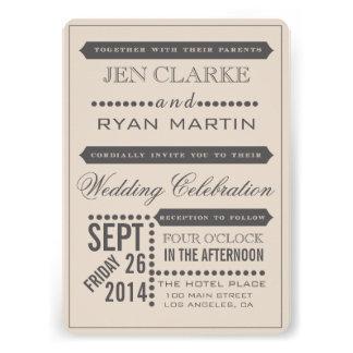Modern Script Beige Grey Wedding Invitation
