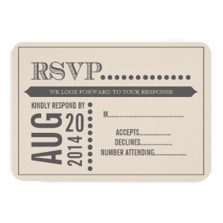 Modern Script Beige & Grey Wedding RSVP 9 Cm X 13 Cm Invitation Card
